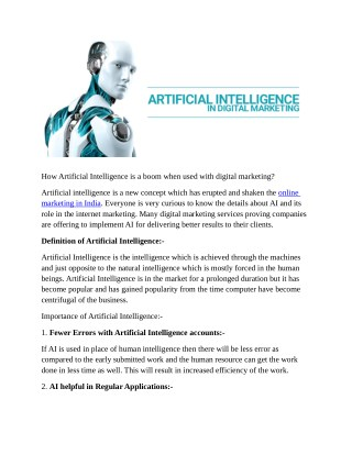 How Artificial Intelligence is a boom when used with digital marketing?