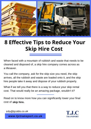 8 Effective Tips to Reduce Your Skip Hire Cost