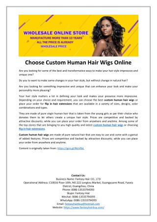 Choose Custom Human Hair Wigs Online