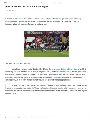 PPT - How to use soccer odds for advantage PowerPoint