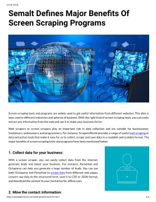 Semalt Denes Major Benets Of Screen Scraping Programs