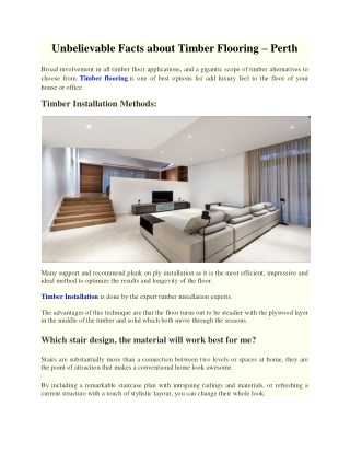 Unbelievable Facts About Timber Flooring – Perth