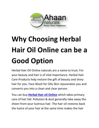 Why choosing Herbal Hair Oil Online can be a good option