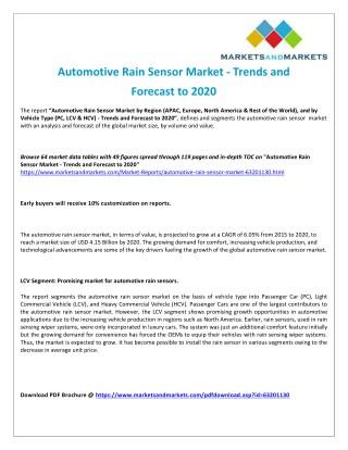 Automotive Rain Sensor Market - Opportunities in Future with Different Segments