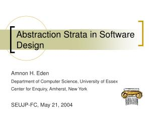 Abstraction Strata in Software Design