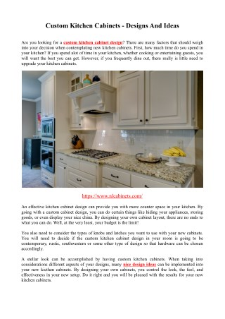 Custom Kitchen Cabinets - Designs And Ideas