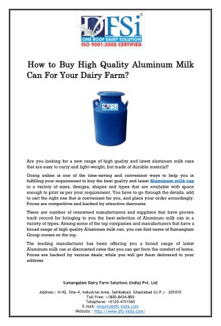 How to Buy High Quality Aluminum Milk Can For Your Dairy Farm?