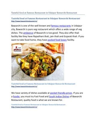 Tasteful food at Famous Restaurant in Udaipur Bawarchi Restaurant