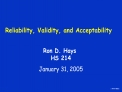 Reliability, Validity, and Acceptability