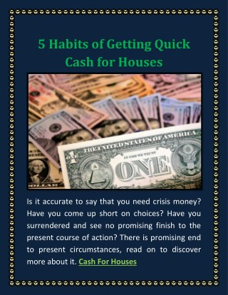 5 Habits of Getting Quick Cash for Houses