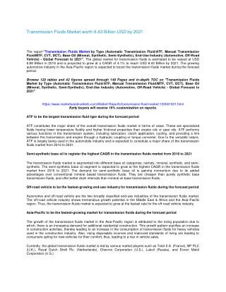 Transmission Fluids Market worth 8.43 Billion USD by 2021