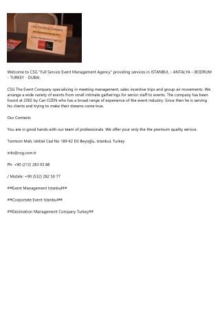 Event-Corporate-Destination Management Company Turkey