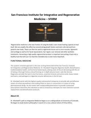 Integrative and Regenerative Medicine Institute in san fan Francisco – SFIIRM