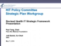 HIT Policy Committee Strategic Plan Workgroup