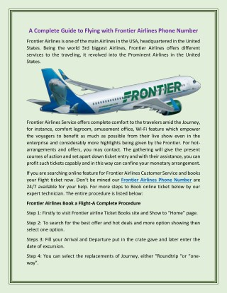 A Completely Guidance to Flying with Frontier Airline Customer Service