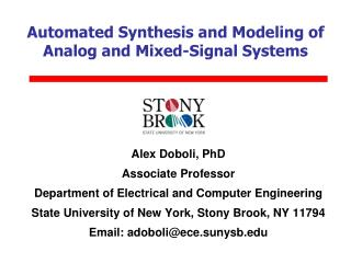 Automated Synthesis and Modeling of Analog and Mixed-Signal Systems