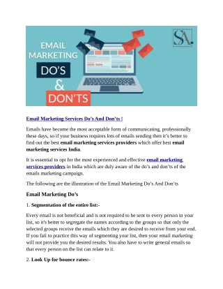 Email Marketing Services Do's And Don'ts !