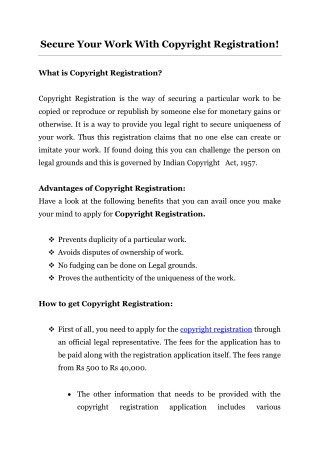 Secure Your Work With Copyright Registration!