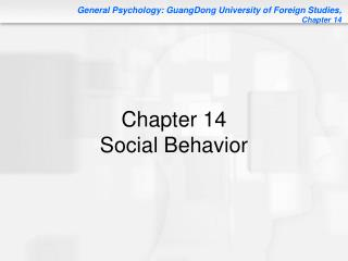 Chapter 14 Social Behavior