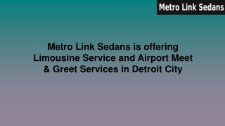 Metro Link Sedans is offering Limousine Service and Airport Meet & Greet Services in Detroit City