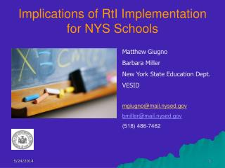 Implications of RtI Implementation for NYS Schools