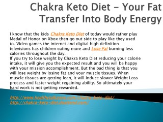 Chakra Keto Diet - Get A Balanced Weight