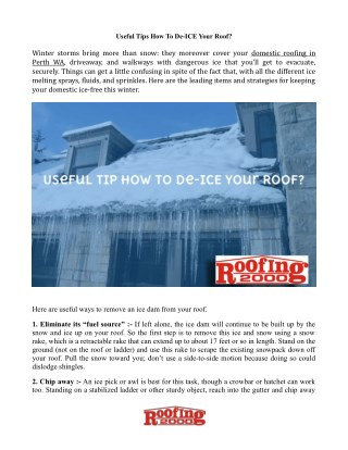 How To De-ICE Your Roof?