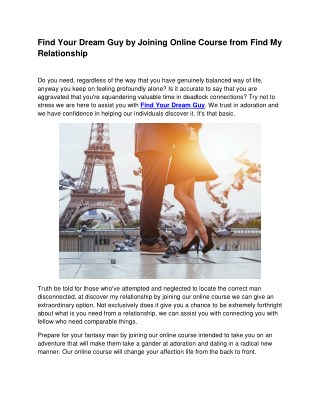 Find Your Dream Guy by Joining Online Course from Find My Relationship