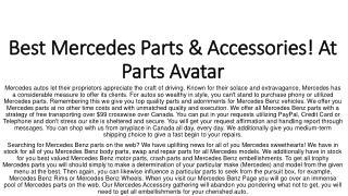 At Parts Avatar.ca All Mercedes Parts Online! Buy Brake Pads, Door Handle & More