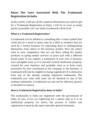 Know The Laws Associated With The Trademark Registration In India