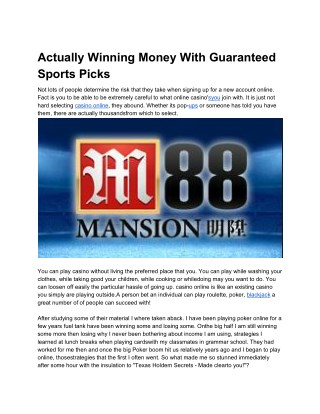 Actually Winning Money With Guaranteed Sports Picks