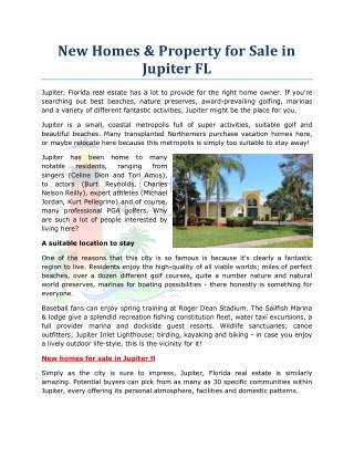 New Homes & Property for Sale in Jupiter FL