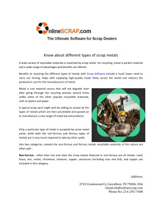 Know about different types of scrap metals
