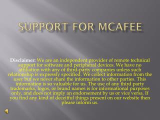 Support for mcafee.com/activate