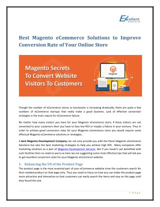 Best Magento eCommerce Solutions to Improve Conversion Rate of Your Online Store