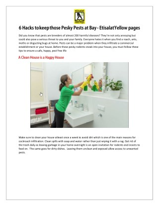 6 Hacks to keep those Pesky Pests at Bay - Etisalat Yellow Pages