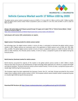 Global Analysis on Vehicle Camera Market