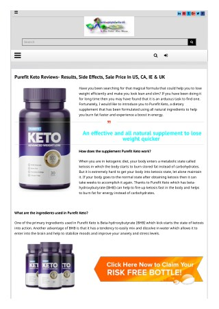 Essential about Pure Fit Keto?