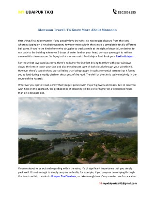 Monsoon Travel- To Know More About Monsoon