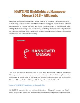 HARTING Highlights at Hannover Messe 2018  - Alltronix