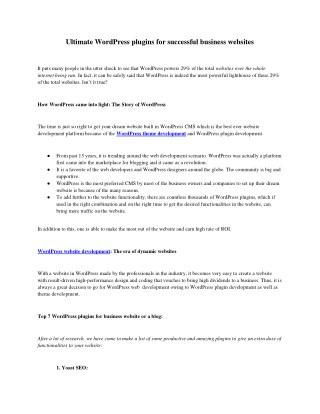Ultimate WordPress plugins for successful business websites