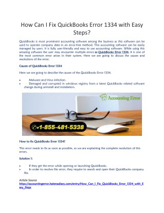PPT - Professional Support Services to Resolve the QuickBooks Error