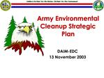 Army Environmental Cleanup Strategic Plan