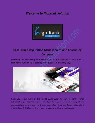 ORM packages, High Rank Solution, HRS Consulting at highranksolution.com