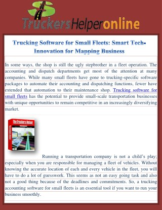 Trucking Software for Small Fleets: Smart Tech-Innovation for Mapping Business