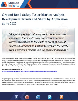 Ground Bond Safety Tester Market Size and Gross Margin Analysis to 2022 by Million Insights