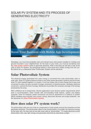 Solar Photovoltaic (PV) System and its process of generating electricity
