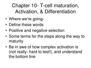 Chapter 10- T-cell maturation, Activation, & Differentiation