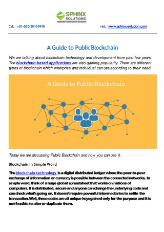 A Guide to Public Blockchain