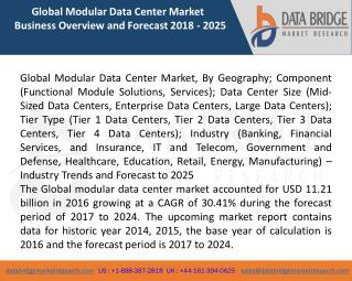 Global Modular Data Center Market – Industry Trends and Forecast to 2025